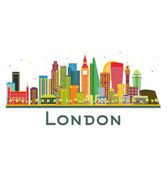 london england city skyline with color buildings vector image