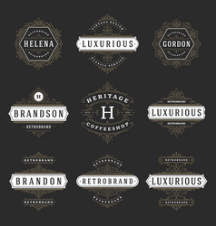 Luxury logos templates set flourishes vector