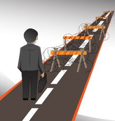 man abstacled by barrier1 vector image