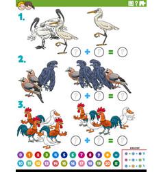 Math addition educational task with cartoon birds vector