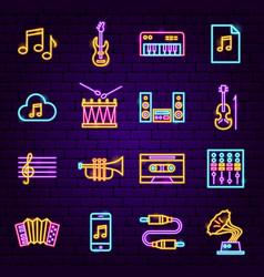 Music audio neon icons vector
