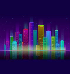 Night city futuristic cityscape with bright and vector