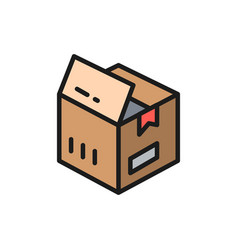 open box parcel delivery flat color icon vector image