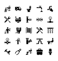pack of plumbing glyph icons vector image