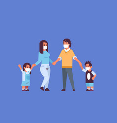 Parents and children wearing face masks vector