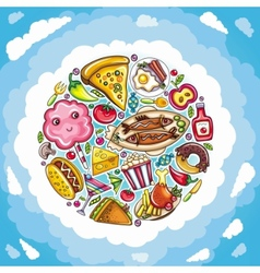 Planet delicious and funny food vector