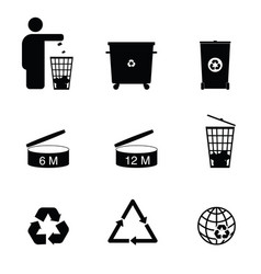 recycle icon set in black color vector image