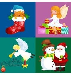 Santa Claus snowman hats children enjoy winter vector image