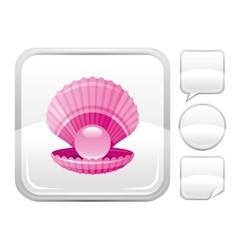 Sea beach and travel icon with scallop shell with vector image