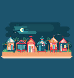 Sea side night landscape with beach house vector