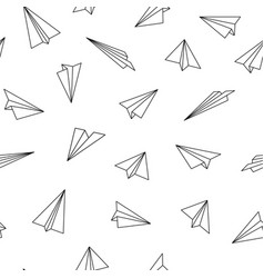 seamless pattern with origami planes vector image