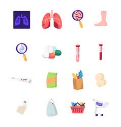 Set medicine icons xray diseased lungs vector