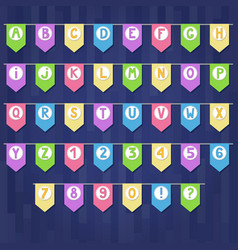 set of colored cartoon flag garlands with vector image