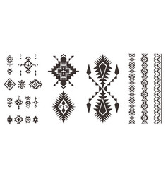 set of decorative tribal elements isolated on vector image