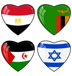 Set of images of hearts with the flags of Egypt vector image