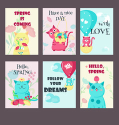 set of spring cards with cute cats and vector image