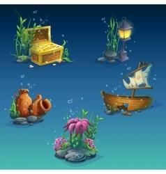 Set underwater objects vector