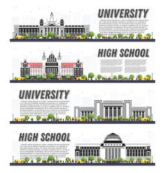 Set university campus study banners isolated vector