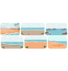 set with sea landcapes coastline vector image