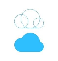 simple cloud icon with outline base vector image