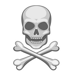 Skull and crossbones icon cartoon style vector