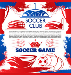 soccer sport poster with football stadium and ball vector image