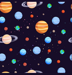 Space and planets pattern vector