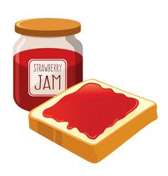 Strawberry jam spread on a bread vector