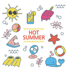 summer set hand drawn elements vector image