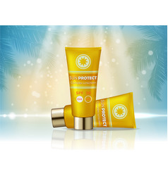 sunblock cosmetic products ad 3d vector image