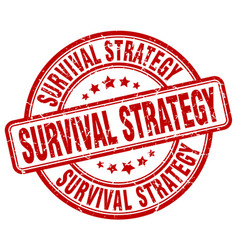 Survival strategy red grunge stamp vector