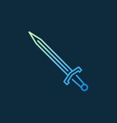 Sword colored icon or symbol in thin line vector
