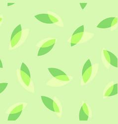 Tea leaves on green seamless pattern vector