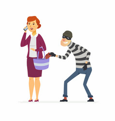 Thief stealing wallet - cartoon people characters vector