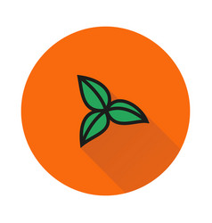 Three leaves icon on round background vector