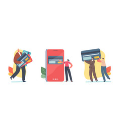 tiny characters with huge credit cards vector image