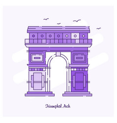triumphal arch landmark purple dotted line skyline vector image