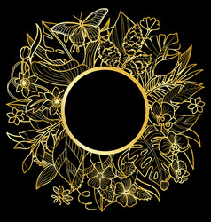 Tropical gold round frame vector