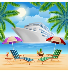 Tropical paradise cruise ship exotic island vector