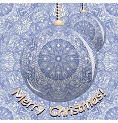 Two Christmas balls on a blue pattern in Indian vector image