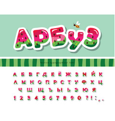 Watermelon cyrillic summer font cartoon paper cut vector
