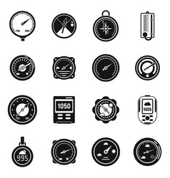 Weather barometer icons set simple style vector