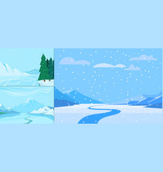 winter landscape with christmas tree mountain vector image