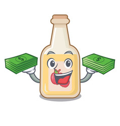 With money bag apple cider in character shape vector