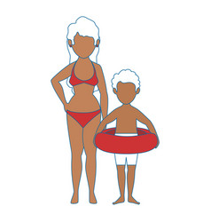 Woman and boy icon vector