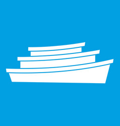 wooden boat icon white vector image