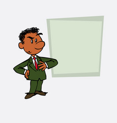 Worried black businessman is showing as in a vector