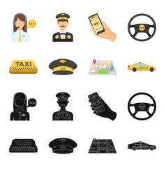 yellow taxi inscription a cap with a taxi badge vector image