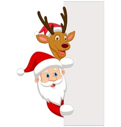 Cartoon Santa and red nose reindeer vector image vector image