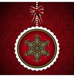 Christmas card with hanging new year ball vector image